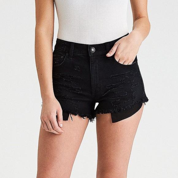 EUC high waisted black ripped jean shorts